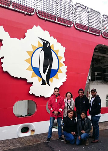 Home from home: The MSc oceanography class of 2015 gets acquainted with the polar vessel, the SA Agulhas II, their home in the wintry Southern Ocean over the next four weeks. In picture are (back from left), Marc de Vos, Katherine Moffett (CPUT), Tharone Rapeti and Ramontsheng Rapolaki. (Front) Tania Williams and Khushboo Jhugroo.