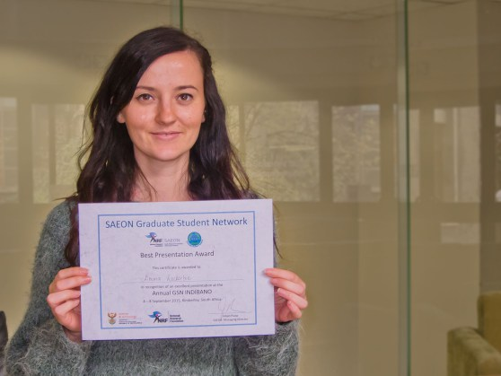 Our very own Emma Lockerbie snapped up best presentation at the SAEON graduate student network. Congratulations Emma!